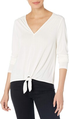 Lucky Brand Women's Long Sleeve V Neck Tie Front Top