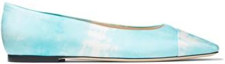Jimmy Choo CILLA FLAT Blue Satin Tie Dye Square-Toed Ballerina Flats