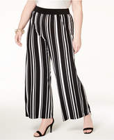 INC International Concepts Plus Size Striped Wide-Leg Pants, Created for Macy's