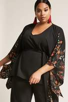 Forever 21 FOREVER 21+ Plus Size Woven Floral Poncho