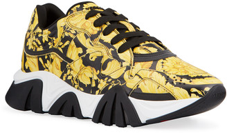 Versace Men's Squalo Baroque-Print Leather Sneakers