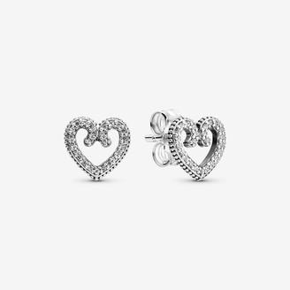 Pandora Heart Swirl Stud Earrings