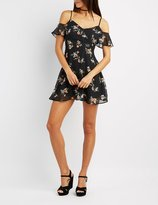 Charlotte Russe Floral Cold Shoulder Button Dress