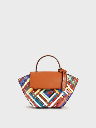 Charles & Keith Striped Trapeze Top Handle Bag