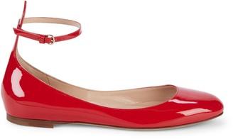 Valentino Garavani Patent Leather Ankle-Strap Ballet Flats