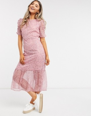 New Look midi ditsy dress in pink