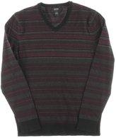 Alfani Black Men's Striped V-Neck Sweater, Dark