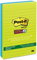 3M/COMMERCIAL TAPE DIV. Super Sticky Notes, 4 x 6, Lined, 3 Tropic Breeze Colors, 3 90-Sheet Pads/Pack
