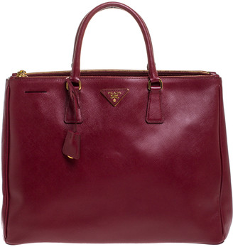Prada Burgundy Saffiano Leather Executive Double Zip Tote
