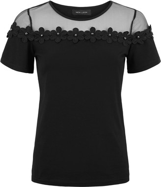 New Look Mesh Panel 3D Floral Top