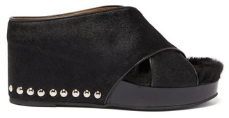 Toga Studded Shearling And Calf-hair Platform Wedges - Womens - Black