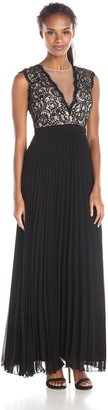 Xscape Evenings Women's Long Chiffon Pleat with Lace Top