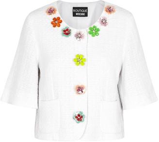 Boutique Moschino White embellished tweed jacket