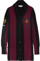 Stella McCartney Striped Appliquéd Wool-blend Cardigan - Merlot