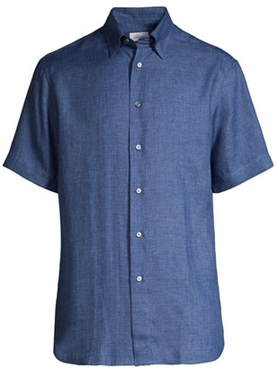 Brioni Linen Short-Sleeve Button-Front Shirt