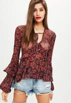 Missguided Red Tie Neck Tunic Top