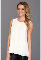 DKNY DKNYC - Sleeveless Button Thru Pleat (Ivory) - Apparel