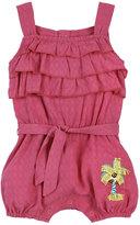 Petit Lem Layered Sleeveless Woven Romper, Dark Pink, Size 12-24M
