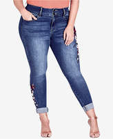 City Chic Trendy Plus Size Embroidered Cuffed Jeans