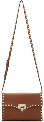 Valentino Brown Garavani Small Rockstud Flap Bag