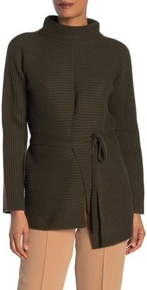 Vince Asymmetrical Tie Front Knit Wool & Cashmere Sweater