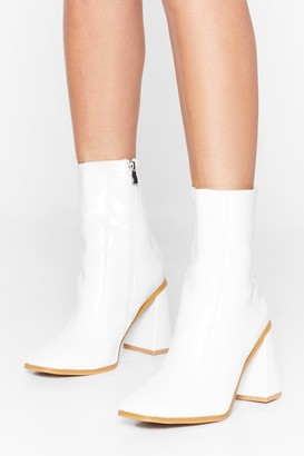 Nasty Gal Womens White Faux Leather Boots with High Angle