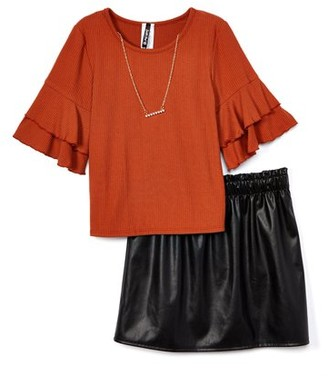 Insta Girl Instagirl Girls 7-16 Ruffle Sleeve Top and Paperbag Waist Skirt, 2-Piece Outfit Set