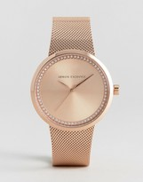 Armani Exchange Ax4503 Mesh Watch In Rose Gold