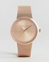 Armani Exchange Rose Gold Liv Mesh Watch