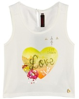 Catimini White Heart Love Print and Embellished Vest