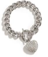 GUESS Women's Silver-Tone Rhinestone Heart Bracelet