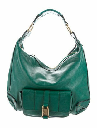 Marc Jacobs Leather Zip-Around Hobo Green