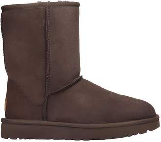 UGG Classic Short Low Heels Ankle Boots In Brown Suede