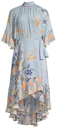 Camilla Mother Silk Floral High-Low Flounce Dress