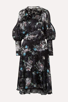 Preen by Thornton Bregazzi Jemima Floral-print Devore-satin Dress - Black