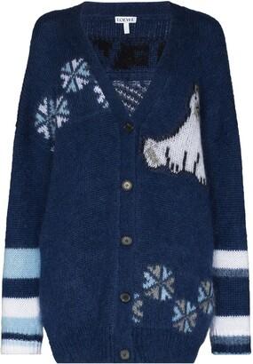 Loewe intarsia-knit V-neck cardigan