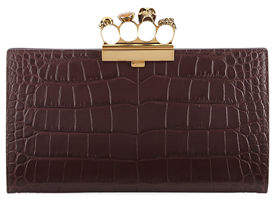 Alexander McQueen Knuckle Silky Crocodile-Embossed Flat Clutch Bag