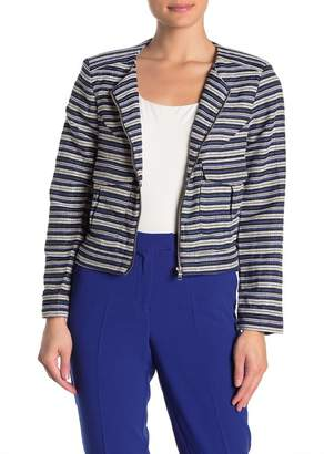 FRNCH Striped Woven Zip Front Jacket