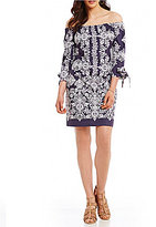Vince Camuto Off-the-Shoulder Paisley Print Shift Dress