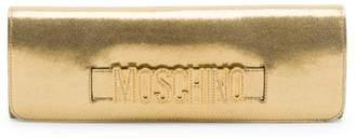 Moschino Embellished Metallic Leather Clutch