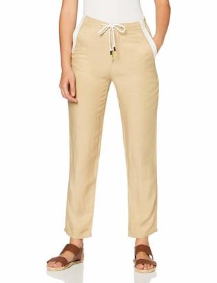 Benetton Women's Casual Linen Trouser with Tie Waist