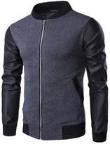 Whatlees What Lees Mens Casual Contrast Button Down Leather Jacket With Pockets -S