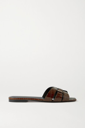 Saint Laurent Tribute Woven Croc-effect Leather Sandals - Brown
