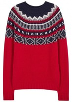 Moncler Red Fair Isle Wool Blend Jumper