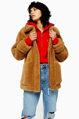 Topshop Womens Brown Borg Zip Up Jacket - Camel