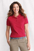 Lands' End Women's Regular Short Sleeve Ottoman Collar Mesh Polo Shirt