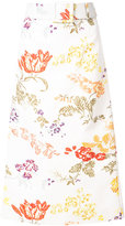 Rosie Assoulin floral belted A-line skirt