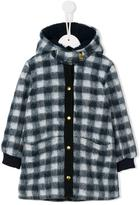 Simple checked hooded coat