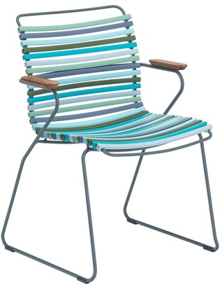 Ecc Lighting & Furniture Click Armrest Outdoor Dining Chair Multi Green & Blue Palette