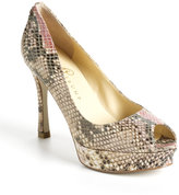 Ivanka Trump Whiskeri Peep-Toe Leather Pumps